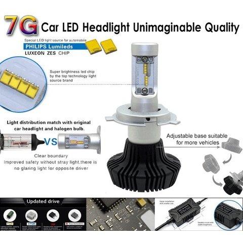 Набір світлодіодного головного світла UP-7HL-H4W-4000Lm (H4, 4000 лм, холодний білий) Прев'ю 1